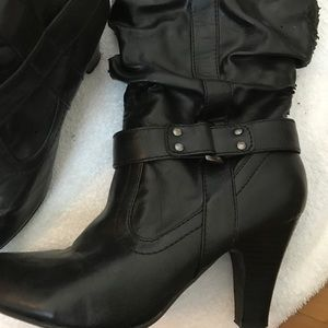 Shoes - Black dress slouch boots with 3 inch heel.